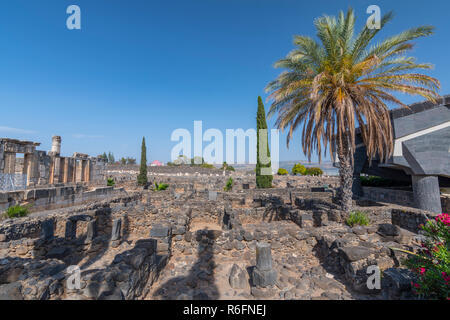 The Ruins In The Small Town Capernaum On The Coast Of The Lake Of Galilee According To The Bible This Is The Place Where Jesus Lived, Israel - Stock Photo