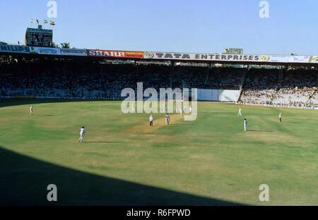 Cricket Match at Wankhede Stadium, Bombay Mumbai, Maharashtra, India - Stock Photo