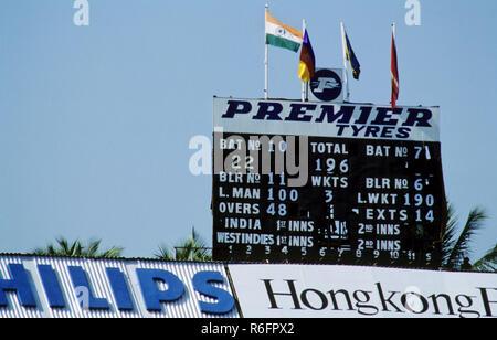 Score Board of Wankhede Stadium in India v/s West Indies cricket match, Mumbai, Maharashtra, India 1981 - Stock Photo