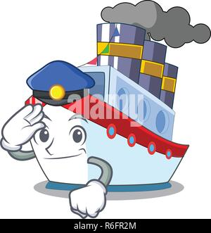Police ship in the transportation ocean mascot vector illustration - Stock Photo