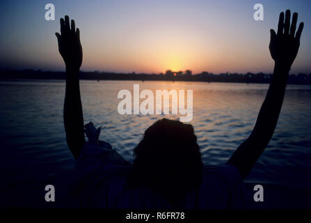 sadhu praying to ganga river, kumbh fair, allahabad, uttar pradesh, india - Stock Photo