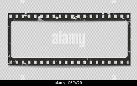 Black scratched horizontal grunge film strip with shadow on squared background. Vector illustration. - Stock Photo