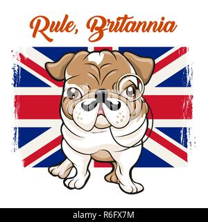 Funny English bulldog with mustaches and monokle on Great britain flag and slogan Rule Britannia. vector illustration. - Stock Photo