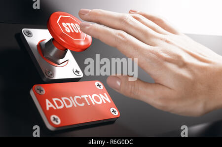 Woman pressing a panic button with stop sign to overcome addiction or dependence problems. Psychology concept. - Stock Photo