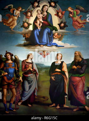 Madonna and Child in Glory and Saints John the Evangelist, Apollonia, Catherine of Alexandria and Michael the Archangel by Vannucci Pietro said Perugino1445/1450-1523 15-16th century, Italy, Italian. - Stock Photo