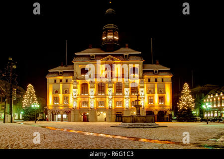 lueneburg (near hamburg) germany,old famous city hall at christmas with snow - Stock Photo