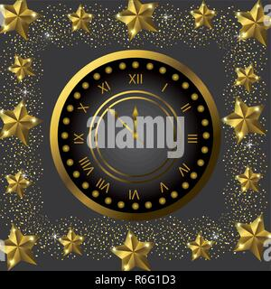 emblem clock with stars to celebrate new year - Stock Photo