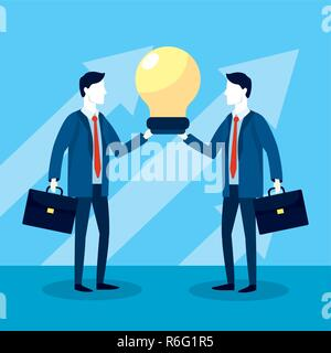 professional businessmen with briefcase and bulb strategy - Stock Photo