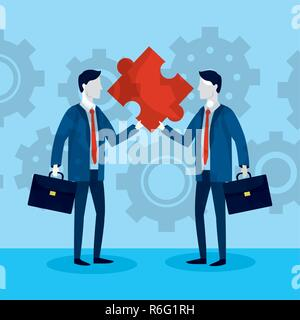 businessmen with puzzle and briefcase data - Stock Photo