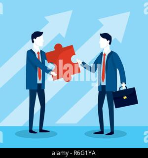 professional businessmen with puzzle and briefcase plan - Stock Photo