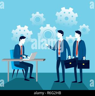 professional businessmen with laptop technology and briefcase - Stock Photo