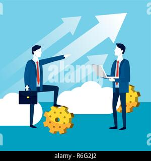 professional businessmen with gears strategy technology - Stock Photo
