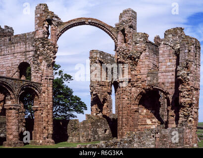 The Holy Island of Lindisfarne. Remains of the Norman Priory (from 1093 AD ).Northumberland. England. - Stock Photo