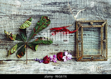 still life with flowers,leaves and a brass picture frame on a wooden background - Stock Photo