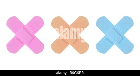 Various Colored Strips of ADHESIVE BANDAGES PLASTER - Medical Equipment - Stock Photo