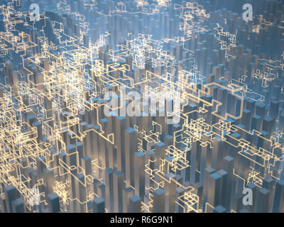 Abstract image of geometric shapes and energy lines. Concept of clean and renewable electric energy. - Stock Photo