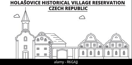 Czech Republic - Holasovice travel famous landmark skyline, panorama, vector. Czech Republic - Holasovice linear illustration - Stock Photo