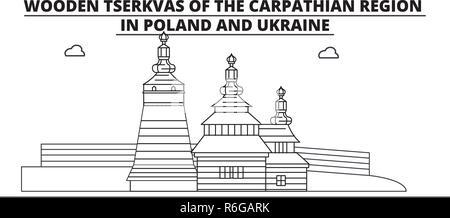 Poland - Wooden Churches In The Carpathian Mountain Area travel famous landmark skyline, panorama, vector. Poland - Wooden Churches In The Carpathian Mountain Area linear illustration - Stock Photo