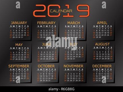 2019 calendar orange yellow on dark grey metallic background vector illustration. - Stock Photo