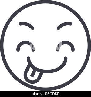 Tricky Emoji concept line editable vector, concept icon. Tricky Emoji concept linear emotion illustration - Stock Photo