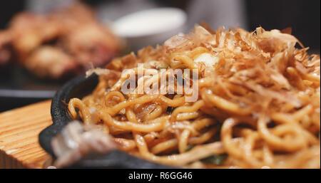 Japanese fried noodles, called yaki soba - Stock Photo