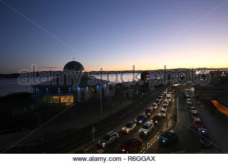 Elevated view of Discovery Point, Premier Inn and Riverside Drive at dusk Dundee Scotland  December 2018 - Stock Photo