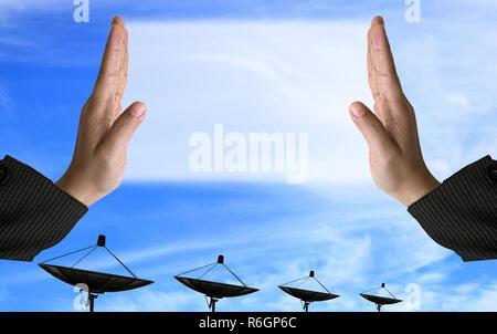 communication satellite dish - Stock Photo