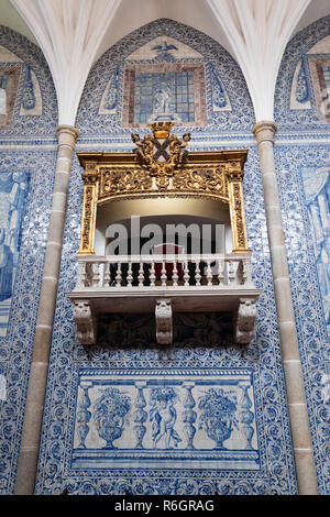 Azulejos inside the Igreja de Sao Joao Evangelista created in the early 18th century by Antonio Oliveira Bernardes, Evora, Alentejo, Portugal, Europe - Stock Photo