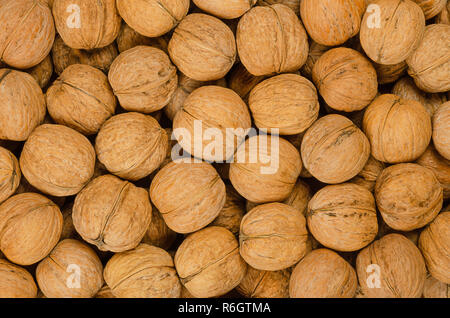 Walnuts background close up. Unshelled dried seeds of the common walnut tree Juglans regia. Pile of whole nuts with shells, used as snack. - Stock Photo