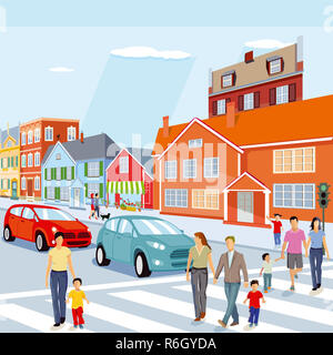 city with pedestrian crossing and cars,illustration - Stock Photo