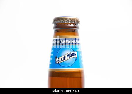 Blue Moon white beer bottle Belgian - Stock Photo