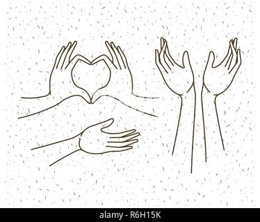 hands gestures set drawing - Stock Photo