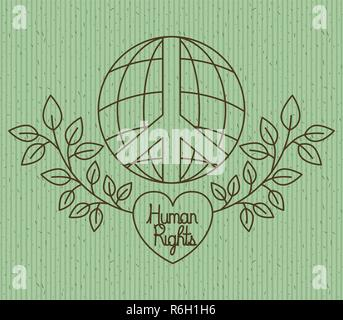 Hand With Heart Human Rights Drawns Stock Vector Art Illustration