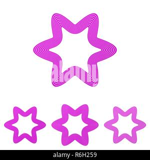 Magenta line star logo design set - Stock Photo
