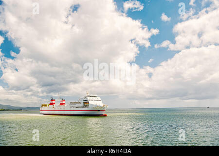 cargo ship. Modern cargo ship at sea in sunny day with blue sky and cloud. transportation concept. International Container Cargo ship in the ocean, Freight Transportation, Shipping, Nautical Vessel - Stock Photo