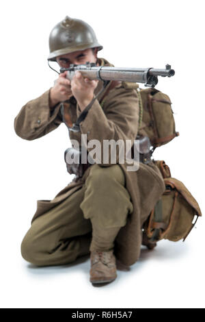 french soldier 1940 isolated on white background - Stock Photo