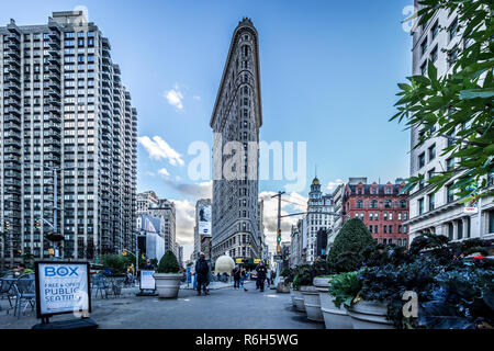Flat Iron Building, New York City, New York, USA. October 13 2018. Nice shot of the famous building on a clear October evening. - Stock Photo