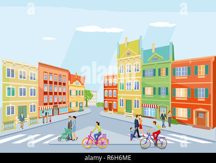 small city with pedestrians and cycling,illustration - Stock Photo