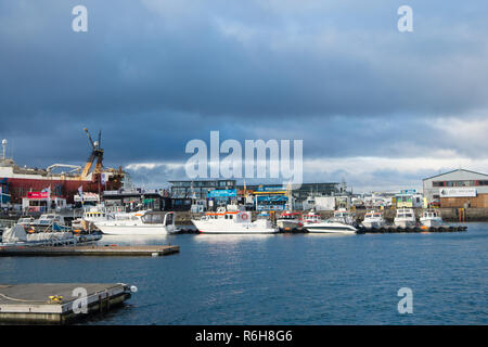 Reykjavik, Iceland - October 13, 2017: marine and coastal area with sea port view. Travel by ship. Marine traffic service. No polluting just be caring to marine environment. - Stock Photo