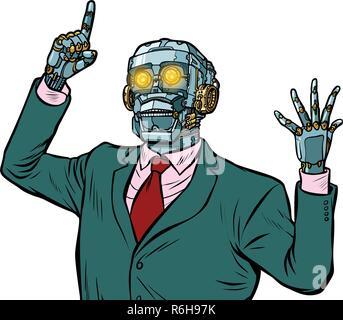 emotional speaker robot, dictatorship of gadgets. isolate on white background. Pop art retro vector illustration - Stock Photo