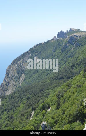 Rocky mountain peaks, steep slopes covered with green forest against blue sky