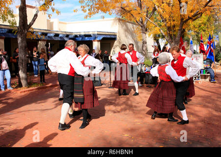 Danish-American Folk dancers demonstrate traditional winter dances in Tucson AZ, USA - Stock Photo