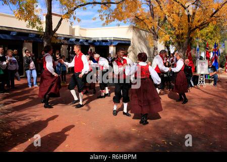 Danish-American Folk dancers demonstrate traditional winter dances in Tucson AZ, USA - Stock Photo