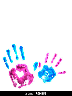 Pink and blue child's handprints isolated on white. - Stock Photo