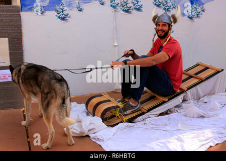 Guy sitting on a sled laughing as he gets his photo taken wearing a viking hat at the Danish festival in Tucson AZ - Stock Photo