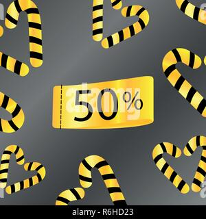50 percent off sale discount limited time gold gray background - Stock Photo