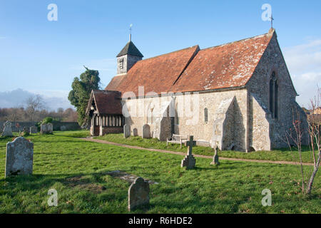 12th century St Mary's church, Binsted, West Sussex, England. Binsted is an ancient village steeped in folklore - Stock Photo