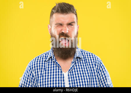 I got you. Art of negotiations. Man try to persuade you in something. Hipster charismatic speaker try to persuade. Public talk and art of persuade. Wink is symbol of pretend understanding. - Stock Photo