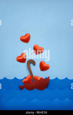 Floating in love sea. - Stock Photo