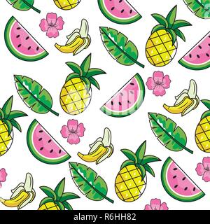 tropical fruits with leaves and flowers background - Stock Photo